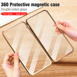 Image 2 - For iphone 8 7 plus iphone X XS Max XR phone case 360 cover coque Luxury Double sided front+back clear glass metal Magnetic case