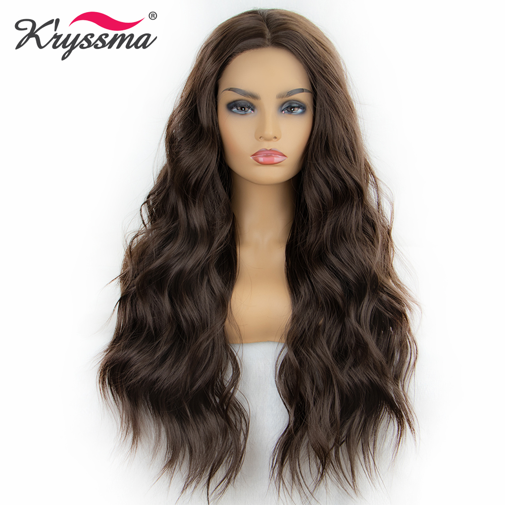 Kryssma Synthetic Lace Front Wig Long Wavy Dark Brown Wigs For Women 22 Inches Middle Parting
