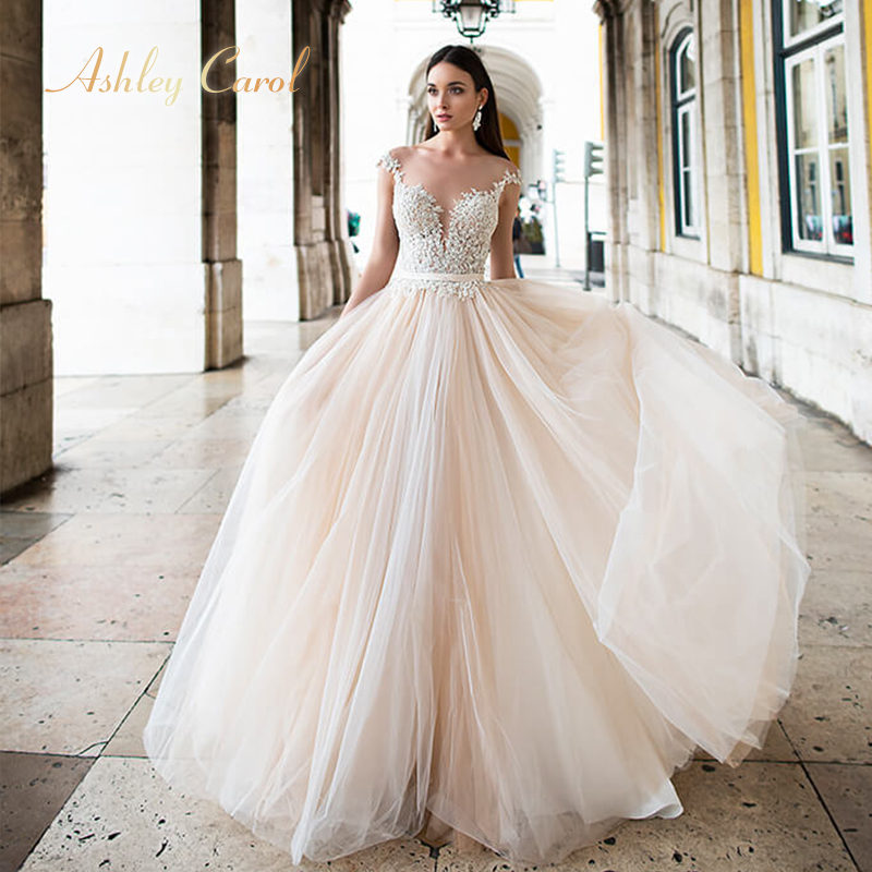 Ashley Carol Appliques A Line Wedding Dress 2019 Beaded V neck Sleeveless Chapel Train Backless Bridal