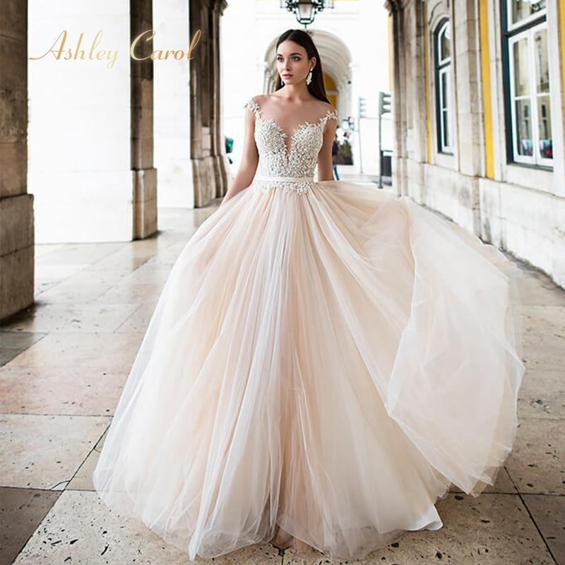 Ashley Carol Appliques A Line Wedding Dress 2019 Beaded V neck Sleeveless Chapel Train Backless Bridal