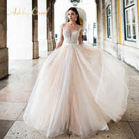 Ashley Carol Backless Appliques A-Line Wedding Dress 2019 Beaded V-neckline Sleeveless Chapel Train Bridal Gown Vestido de Novia