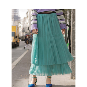 Image 5 - INMAN Spring New Arrival High Waist Slim Retro Literary Double Layer Gauze Women A line Skirt