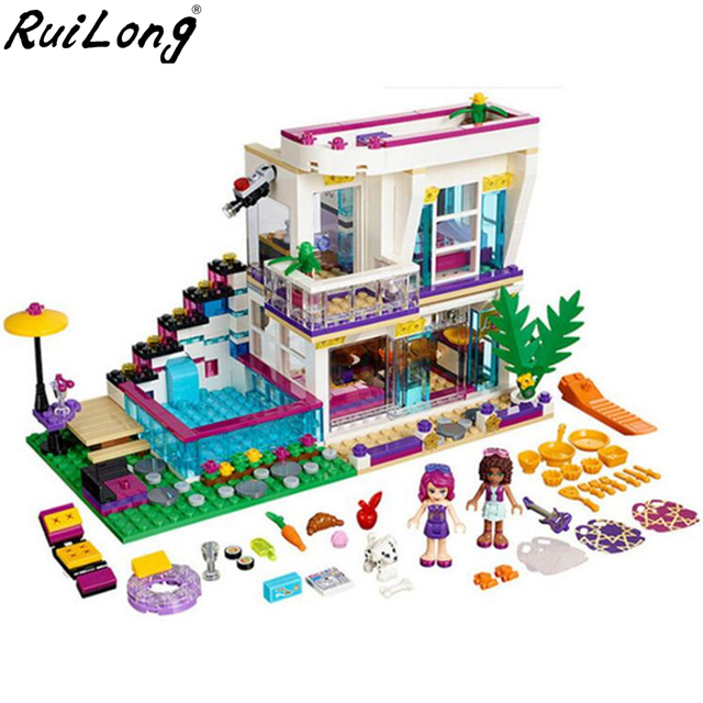 Friends Serices Livi's Pop Star House Compatibility With Legoingly 41135 Building Block Set Andrea DIY Brick Toys For Girls Gift