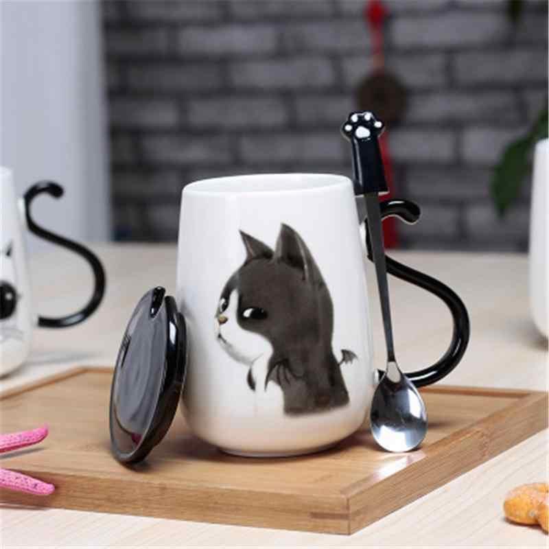 Оптовая продажа 500 мл мультяшный Кот керамический стакан для молока кофейная кружка с крышкой и ложкой из нержавеющей стали контейнер для воды