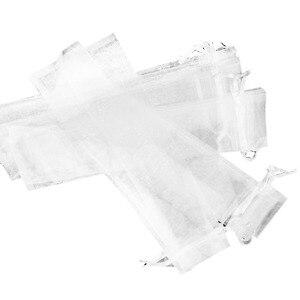 Image 3 - 50 قطعة الرباط الأبيض الأورجانزا للطي مروحة اليد الحقيبة حفل زفاف لصالح حقائب للهدايا