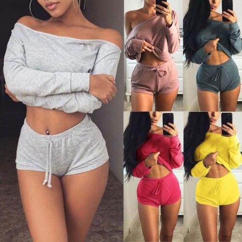 2PCS/Set Women Sports Suit Crop Top Pants Outfit Workout Clothes Tracksuit