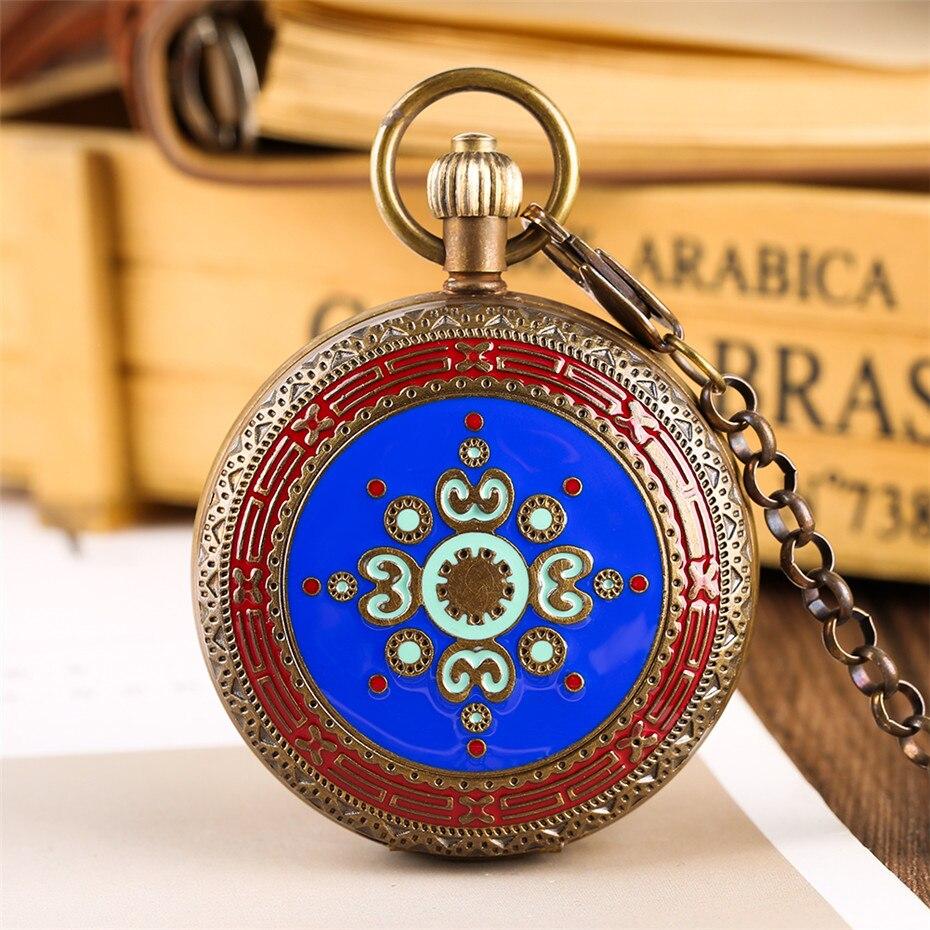 Montre de poche de luxe en cuivre pur Tourbillon avec chiffres romains affichage horloge pendante Vintage pour hommes femmes avec chaîne Fob