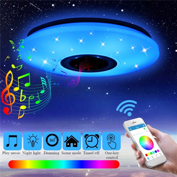 36W Rgb Flush Mount Round Starlight Music Led Ceiling Light Lamp With Bluetooth Speaker, Dimmable Color Changing Light Fixture(China)