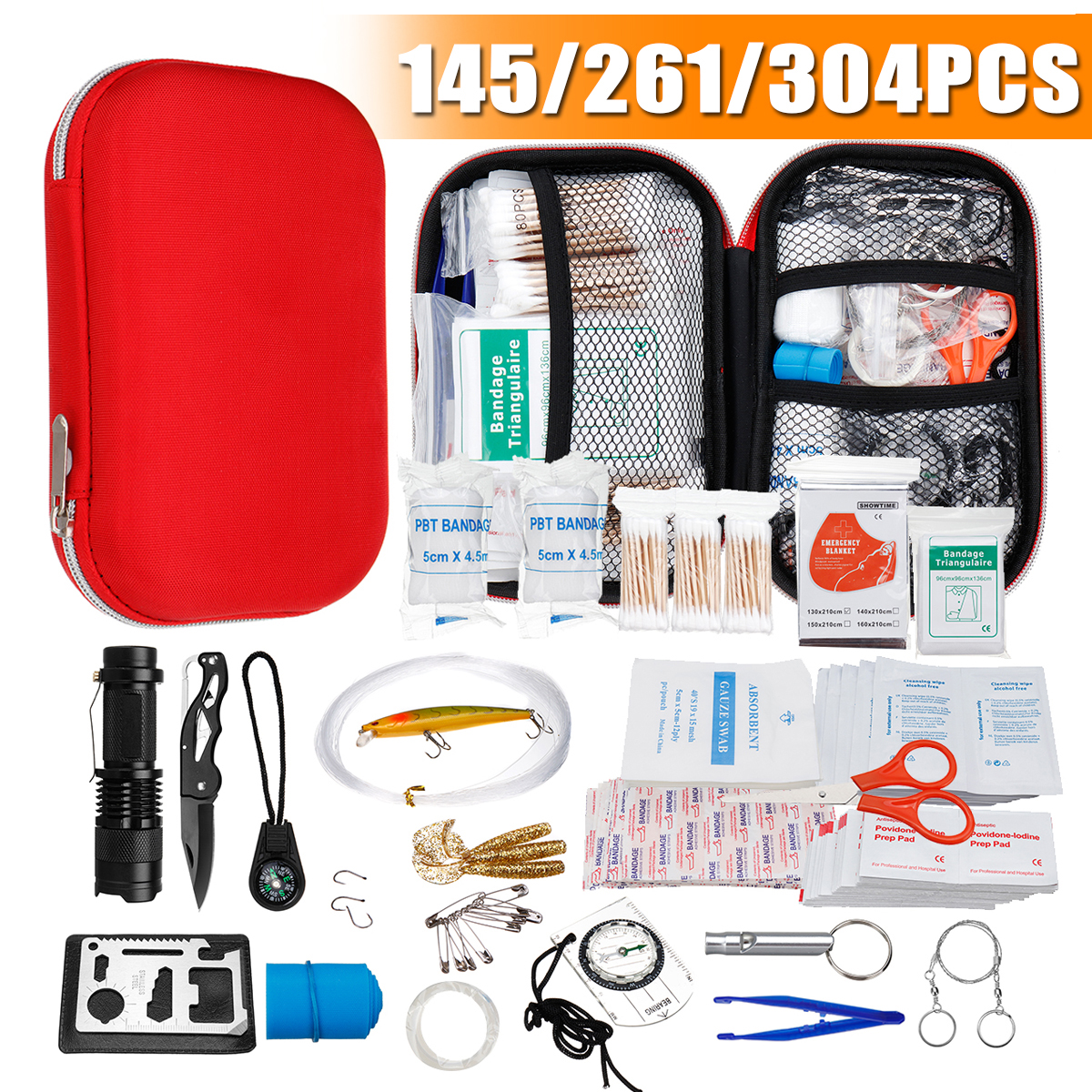 145/261/304 Pcs Portable First Aid Kit Waterproof Emergency Medical Survival Box Bag Kit for Car Outdoor Travel Camping Home 145/261/304 Pcs Portable First Aid Kit Waterproof Emergency Medical Survival Box Bag Kit for Car Outdoor Travel Camping Home