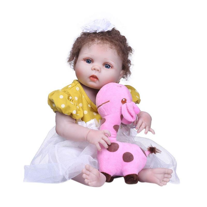 Reborn Doll 55 CM Silicone souple Reborn bébé poupées jouets mignons grandes poupées pour les filles accompagnent des poupées pour bébé filles