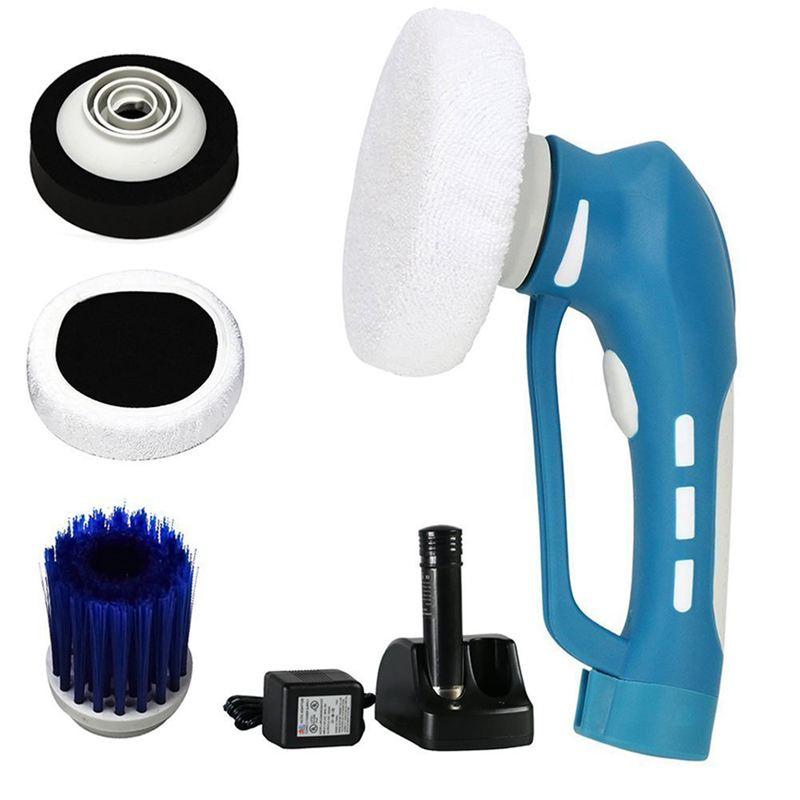 Polissage de voiture, Mini polisseur de voiture sans fil portable Machine de nettoyage de voiture électrique outil étanche ensemble US Plug (bleu)