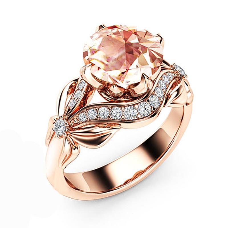 LNRRABC Hot Sale Fashion Floral Rose Gold Ring Girl Cubic