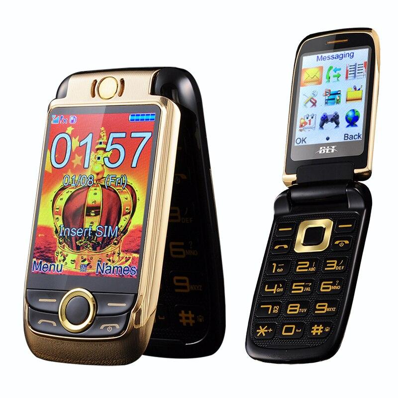 BLT V998 flip Double écran Double deux senior écran mobile téléphone vibrations écran tactile dual SIM téléphone cellulaire voix magique p077