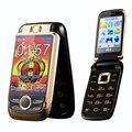 Sobre las V998 flip dual pantalla doble dos pantalla superior del teléfono móvil de pantalla táctil Dual SIM Voz Mágica del teléfono celular p077