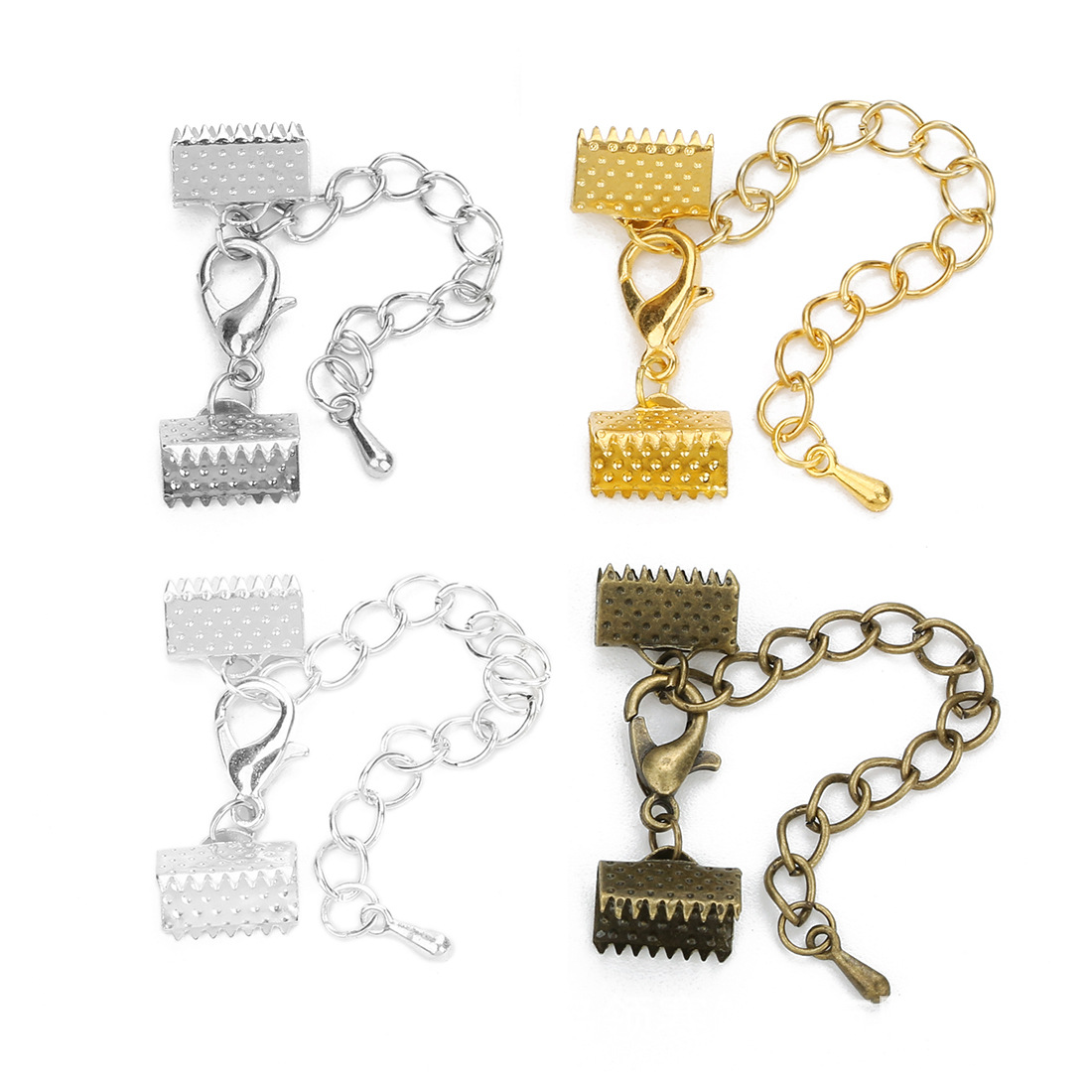 SETS Lobster Crimp Ends Extension Chain Fits 1.5-3mm Ribbon Leather Cord Wire