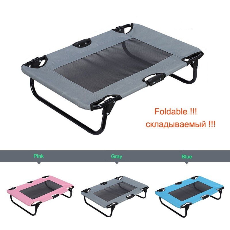 Oxford Fabric Dog Bed Removable Pet Kennel Dog House Sofas Steel Camp Bed Indoor Outdoor Travel