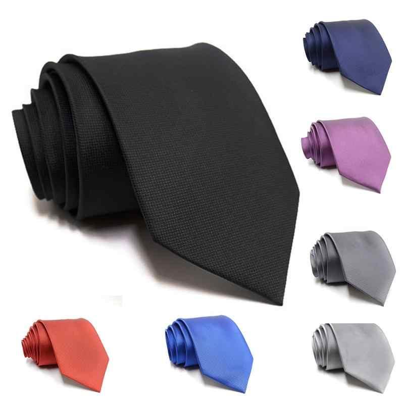 Фото Модный мужской деловой галстук из жаккардовой ткани однотонный ГАЛСТУК