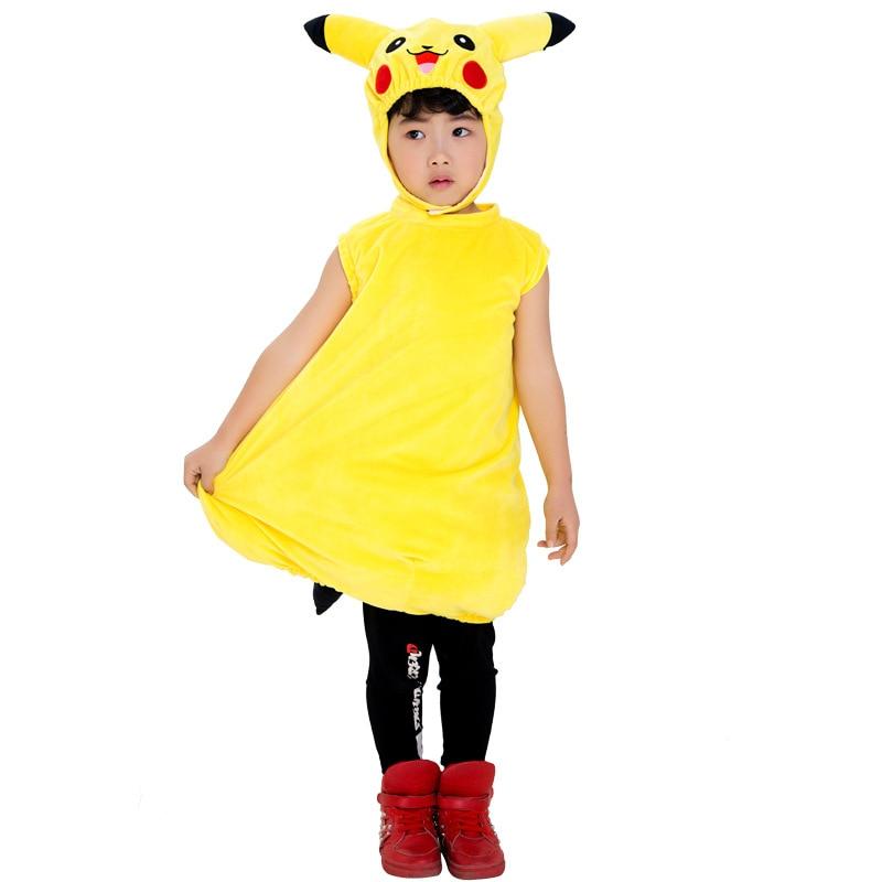 Pikachu Yellow Child Costume Pokemon Jumpsuit Attached Tail Halloween