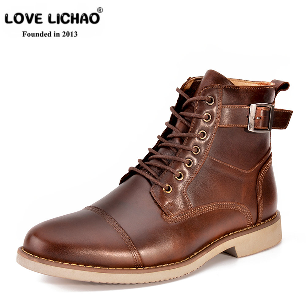 LOVE LICHAO New Fashion Men Boots Handmade High Quality Genuine Leather Business Boots British Style Casual Boots Botas Hombre lozoga new mens boots genuine leather luxury riding boots winter casual boots high top british style handmade equestrian boots
