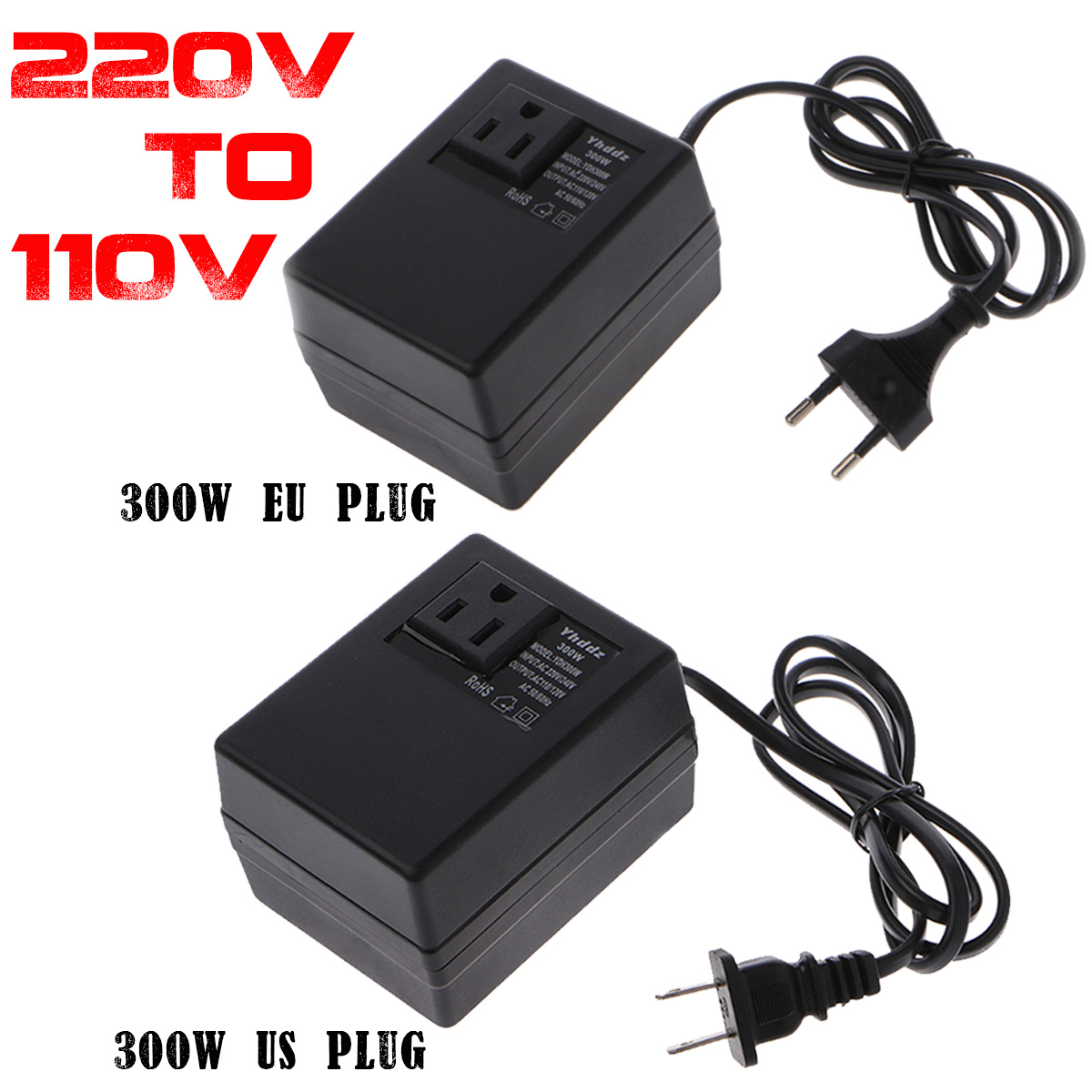 300W/<font><b>200W</b></font> <font><b>220V</b></font> <font><b>To</b></font> <font><b>110V</b></font> AC Step Down Travel Voltage Transformer Converter EU Plug Adapter image