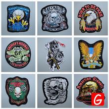 GUGUTREE embroidery big skull patches eagle badges applique for clothing DX-91