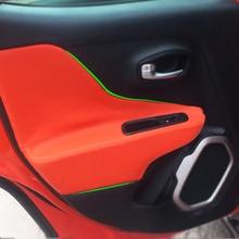 4pcs רכב סטיילינג מיקרופייבר עור פנים דלת משענת פנל כיסוי מדבקה לקצץ לjeep Renegade 2015 2016 2017