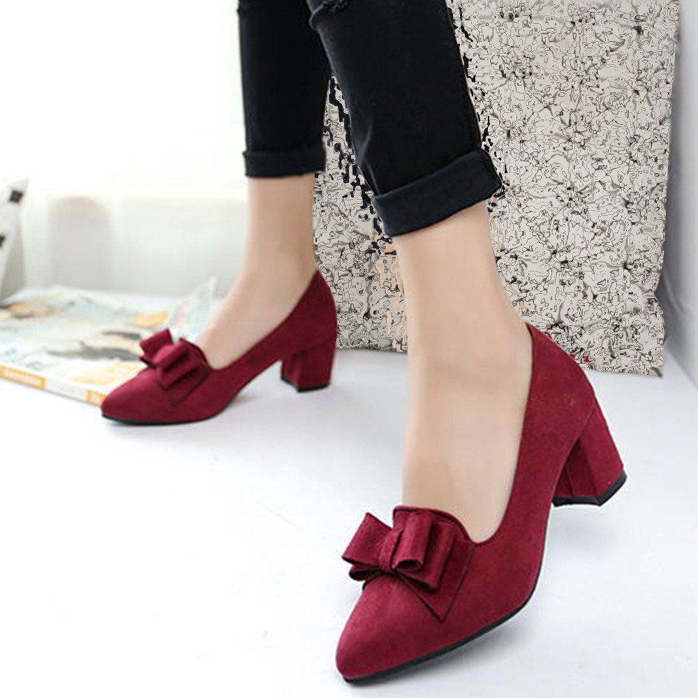 Women 's Shoes Suede Thick High Heels Fashion Casual Pointed Toe Shoes Women Shoes Heel Slippers Summer 2019 New # 7