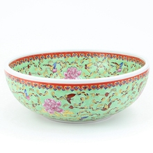 цена на Hot Sale Jingdezhen Ceramic Washing Basin Hand painted Flower Countertop Sinks Deck Mounted Bathroom Washing Sinks