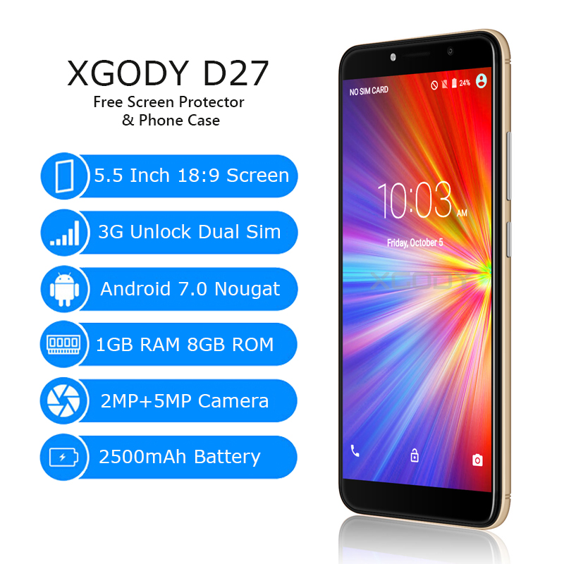 XGODY D27 3G Unlock Smartphone Android 7.0 5.5 Inch 18:9 Full Screen Mobile Phone Quad Core 1G+8G 5MP Camera Cell Phones 2500mAh