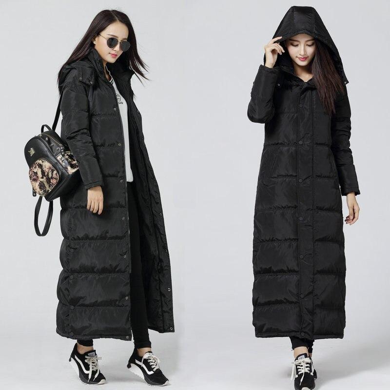 Черный вниз парки зимняя куртка Для женщин с капюшоном Для женщин пуховик Manteau Femme длинная куртка женская теплая макси парка C2729