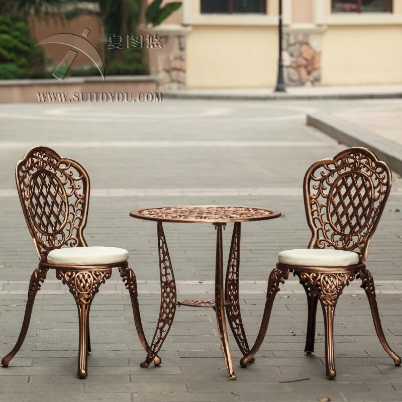 1 table 2 chairs all weather patio furniture garden chair and table cast aluminum bistro set with umbrella hole