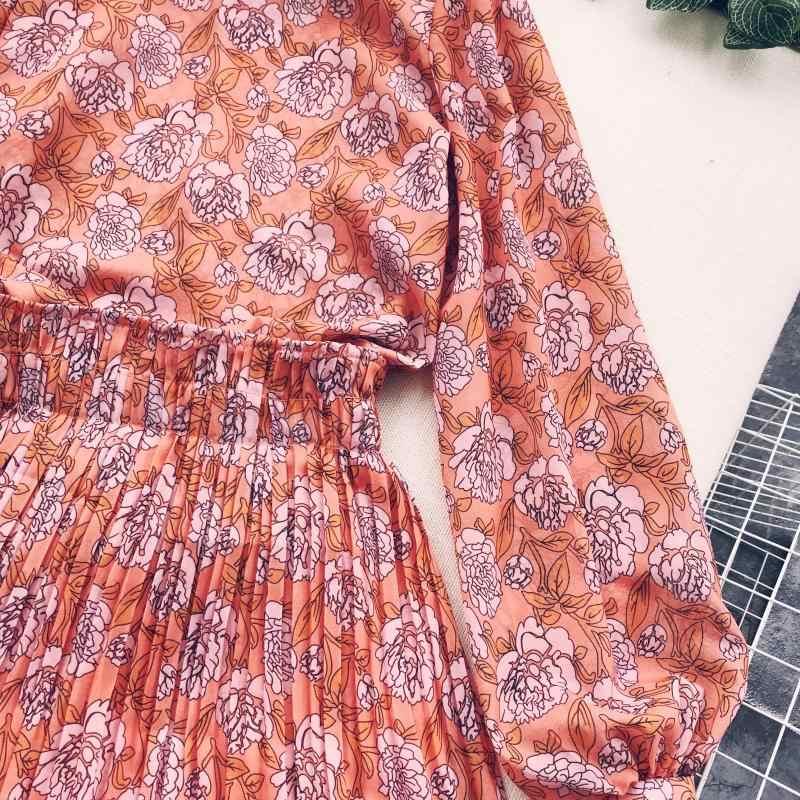 2019 женское драпированное платье трапециевидной формы с принтом, женские вечерние платья с пышными рукавами и стоячим воротником, женские облегающие платья больших размеров до середины икры Vestidos