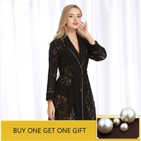 QWEEK Women Robe Sexy Lace Robes 2019 New Hollow Out Sleepwear Lingerie Ladies Robe Bathrobe Kimono Long Sleeve Home Clothing