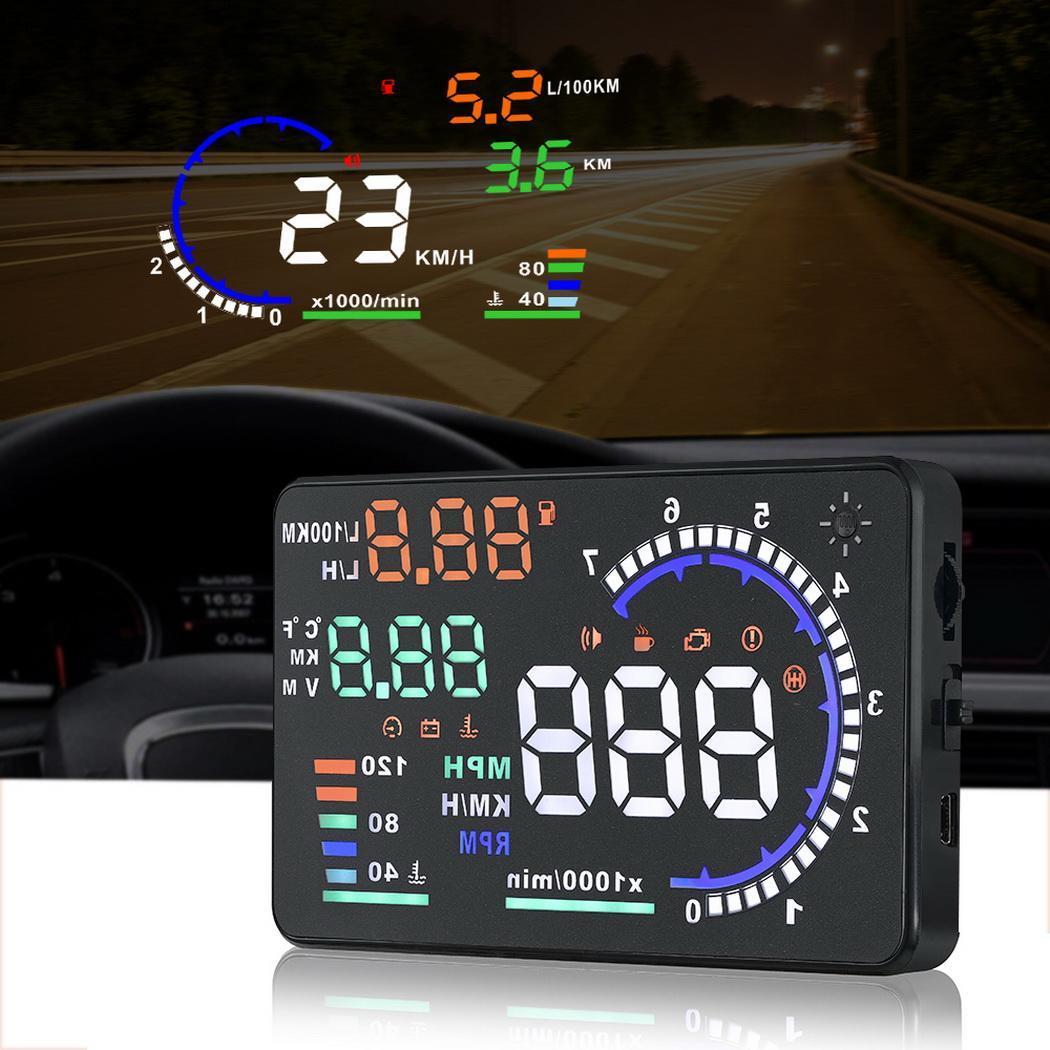 A8 5.5 Pouces OBD HUD Head Up Display Sur-ordinateur de bord De Voiture hud Affichage électronique auto obd2 compteur de vitesse pour voiture Pare-Brise Projecteur