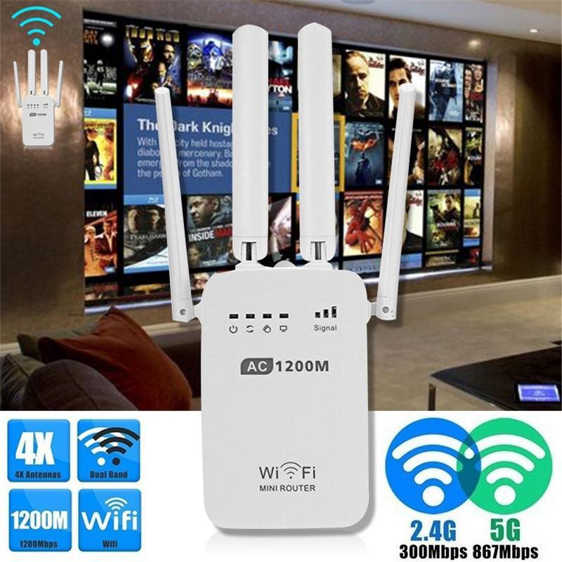 300/1200 Mbps Dual-Band 2.4/5G 4-Antena WIFI Extensor de Alcance Repetidor Wi-fi Sem Fio wi-Fi Roteador de Rede Doméstica Para Casa e Jardim