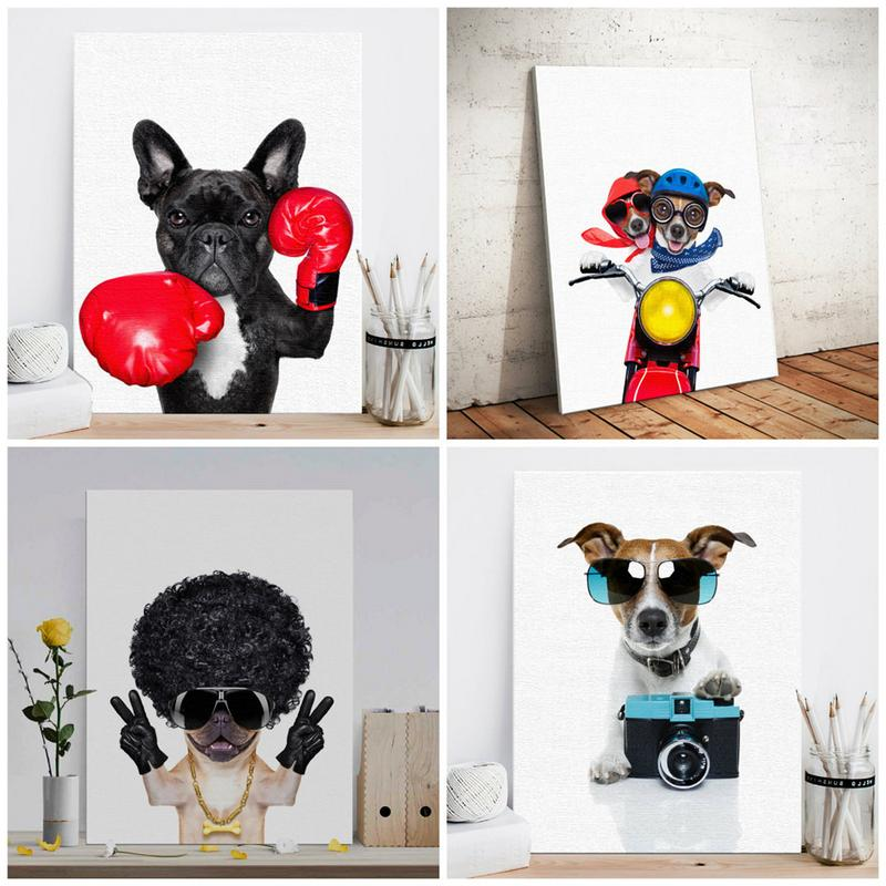 Nordic Style Boxing Dog Canvas No Frame Art Print Painting Poster Funny Cartoon Animal Wall Pictures Nordic Style Boxing Dog Canvas No Frame Art Print Painting Poster Funny Cartoon Animal Wall Pictures For Kids Room Decoration