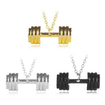 Fashion alloy simple personality necklace couple fitness barbell necklace men and women jewelry gifts image