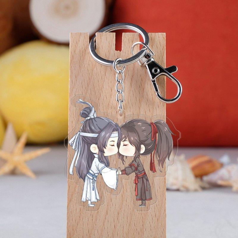 Anime Mo Dao Zu Shi Keychain Fashion Cartoon Grandmaster Of Demonic Lan Wangji Wei Wuxian Car Key Holder Chain Pendant Jewelry