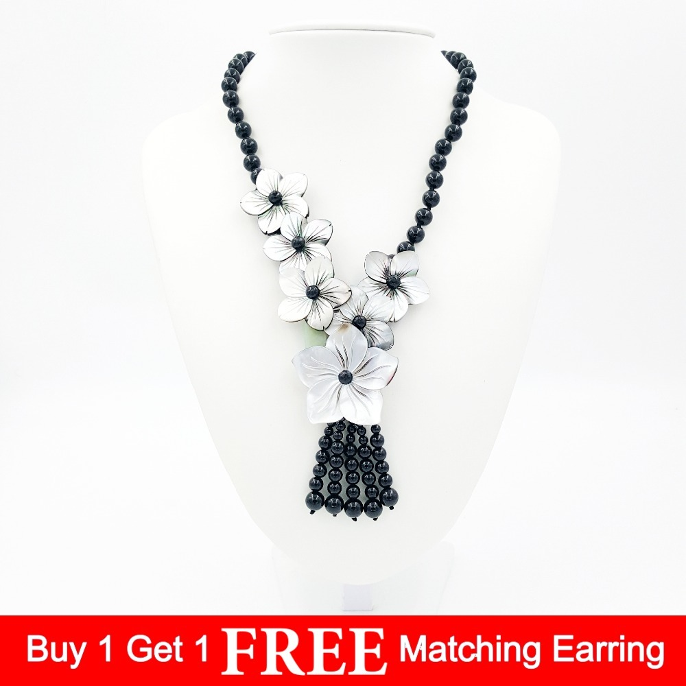 Natural Stone Black Agates Onyx beads&Mother of pearl shell carving flowers Tassels pendant Fashion Necklace 20inches special new fashion natural stone maxi necklace black onyx big necklaces