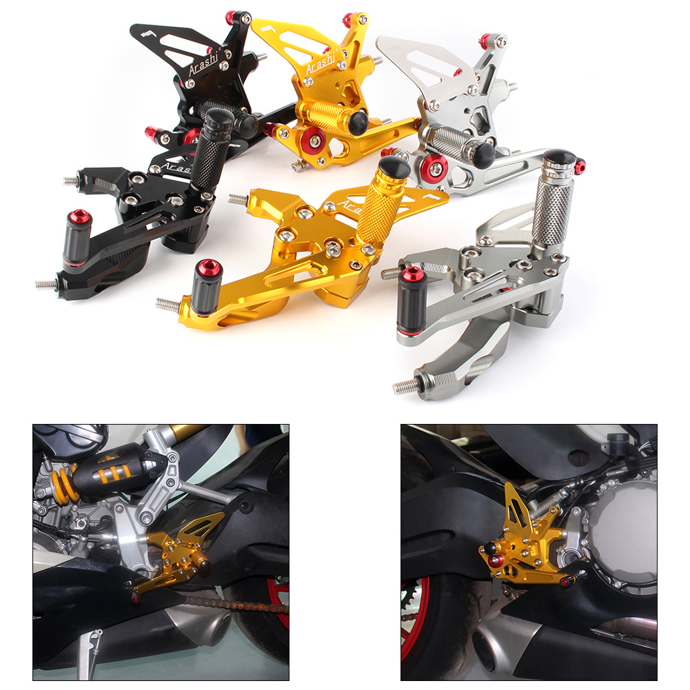 CNC Aluminum Adjustable Motorcycle Rearset Footpegs Rear Set Foot Pegs Footrest For Ducati 959 Panigale 2016 2017 2018