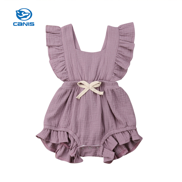 CANIS 2019 New Newborn Baby Girls Ruffle Solid Color Romper Backcross Jumpsuit Outfits Sunsuit Baby Clothing Bow Simple cute