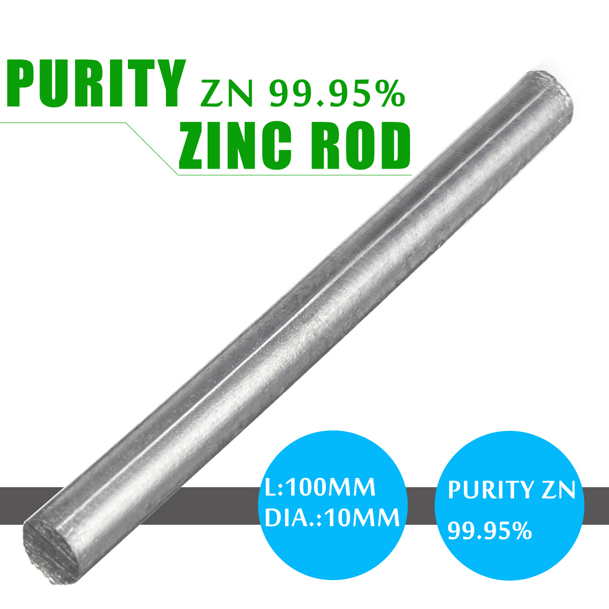 "99.95% Zinc Zn Rods 0.4""x 4"" Purity Anode Electroplating Solid Round Bar Durable Universal For Anode Electroplating Zinc Plating(China)"