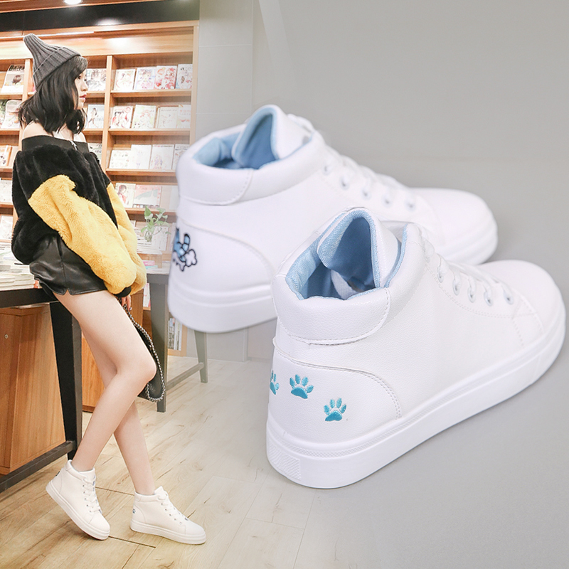High Top Sneakers Pu Casual Shoes White Flat Female Vulcanized Shoes Lace Up Solid Casual White Chaussure Femme Shoes Woman