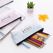Lovely Cosmetic brush Storage bag PU Marble grain cosmetic case Women portable Travel Makeup Case for storage pencil coins bag