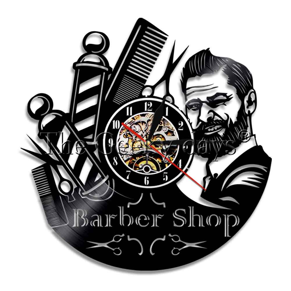 1Piece Barber Shop Sign Duvar Saati Vinyl Record Wall Clock Modern Barber Pole Beauty Hair Salon Wall Clock Hairdresser Gift