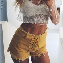 Lace up Denim Shorts For Women Cotton Summer Sexy Tassel Hot High Waist Pocket Jeans femme Fashion Slim Brand New