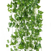 2M Green Leaf Artificial Ivy garlands Wall Decor Room Decoration Parthenocissus Garland wedding Foliage Vines