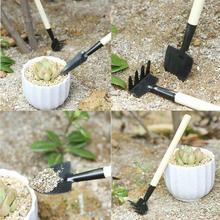 3 шт., практичная мини лопата, садовые инструменты, Детская борона, лопата, грабли, обслуживание растений, деревянная ручка, набор инструментов для сада