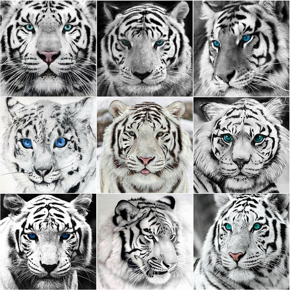 Diamond Painting Cross Stitch Huacan Diamond Embroidery Tiger Pictures Of Rhinestones Diamond Painting Full Square Animal Rhinestone Diamond Mosaic Decoration Agreeable Sweetness