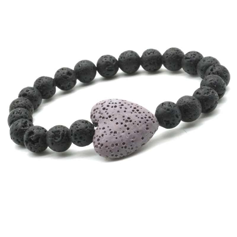 13 Kleurrijke Hart Lava Steen Essentiële Olie Diffuser Armband 8Mm Vulkanische Aromatherapie Sieraden Rock Armbanden Mannen En Vrouwen Fire